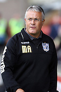 Port Vale Manager Micky Adams looks on prior to kick off. Skybet football league one match, Crewe Alexandra v Port Vale at the Alexandra Stadium in Crewe on Saturday 13th Sept 2014.<br /> pic by Chris Stading, Andrew Orchard sports photography.