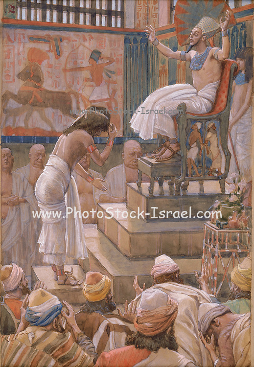 Joseph and His Brethren Welcomed by Pharaoh. Gouache paint on cardboard by James Tissot  1896-1902