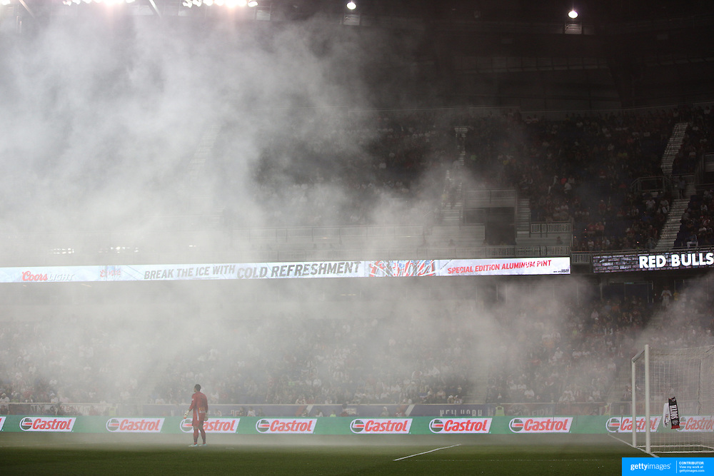 Goalkeeper Luis Robles, New York Red Bulls,  in smoke from flares during the New York Red Bulls Vs Seattle Sounders, Major League Soccer regular season match at Red Bull Arena, Harrison, New Jersey. USA. 20th September 2014. Photo Tim Clayton
