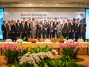 """29 MAY 2015 - BANGKOK, THAILAND:  Participants in the """"Special Meeting on Irregular Migration in the Indian Ocean"""" gather for the ceremonial group photo at the opening of the meeting. Thailand organized and hosted the meeting at the Anantara Siam Hotel in Bangkok. The meeting brought together representatives from the 5 countries impacted by the boat people exodus: Thailand, Malaysia and Indonesia, which have all received boat people, and Myanmar (Burma) and Bangladesh, where they are coming from. Non-governmental organizations, like the International Organization for Migration (IOM) and UN High Commissioner for Refugees (UNHCR) as well as countries responding to the crisis, like the United States, also attended the meeting. A total of 22 organizations attended the one day conference.     PHOTO BY JACK KURTZ"""