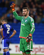 David Marshall, the Cardiff goalkeeper calls out his instructions. Skybet football league championship match, Cardiff city v Middlesbrough at the Cardiff city Stadium in Cardiff, South Wales  on Tuesday 20th October 2015.<br /> pic by  Andrew Orchard, Andrew Orchard sports photography.