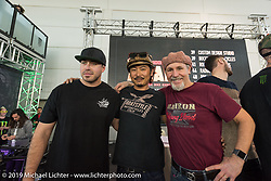 Motor Bike Expo MBE award Judges Zach Ness, Go Takamine and Michael Lichter. Verona, Italy. Saturday January 20, 2018. Photography ©2018 Alberto Castagendi for Michael Lichter Photography