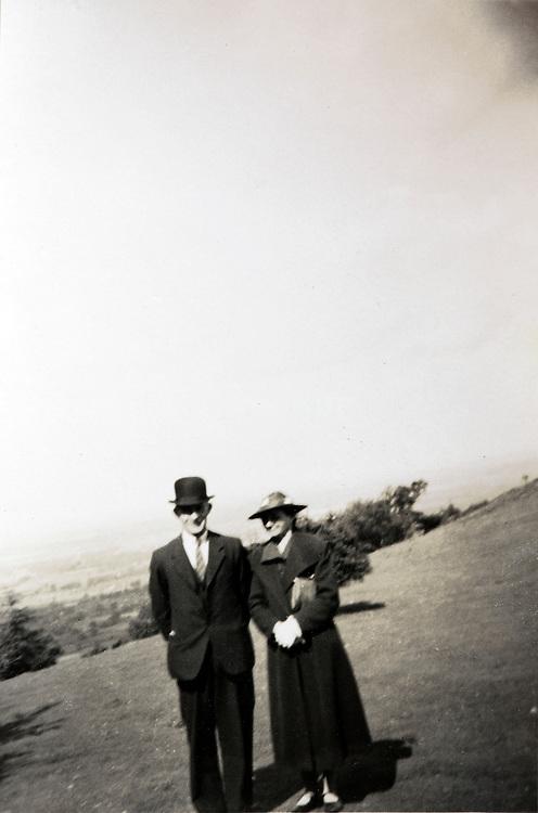 portrait of elderly couple posing in an open field England 1900s
