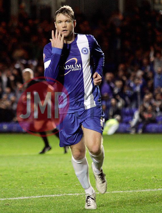Peterborough United's Grant McCann celebrates - Photo mandatory by-line: Joe Dent/JMP - Tel: Mobile: 07966 386802 08/10/2013 - SPORT - FOOTBALL - London Road Stadium - Peterborough - Peterborough United V Brentford - Johnstone's Paint Trophy