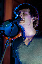 © Licensed to London News Pictures. 13/02/2012. London, UK.  Wouter de Backer AKA 'Gotye' performing at the launch gig for his latest album 'Making Mirrors' (available 13/02) at the Wiltons Music Hall. Gotye's song 'Somebody That I Used To Know' is currently number one in the UK Singles chart. Photo credit : James Gourley/LNP