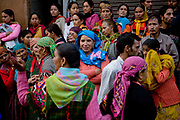 A crowd in a musical and religious celebration in Manali on 27th October 2009, Himachal Pradesh, India.