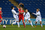 Natasha Harding of Wales © is blocked by Adilya Vyldanova (L) of Kazakhstan .Wales Women v Kazakhstan Women, 2019 World Cup qualifier match at the Cardiff City Stadium in Cardiff , South Wales on Friday 24th November 2017.    pic by Andrew Orchard