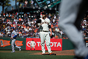 San Francisco Giants relief pitcher Steven Okert (48) reacts to walking a run in against the Los Angeles Dodgers at AT&T Park in San Francisco, California, on April 27, 2017. (Stan Olszewski/Special to S.F. Examiner)