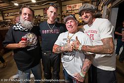 Moonshiner Josh Owens, Freddie Bollwage and Rhett Rotten at Bill Dodge's Blings Cycle shop during Biketoberfest. Daytona Beach, FL, USA. Friday October 20, 2017. Photography ©2017 Michael Lichter.