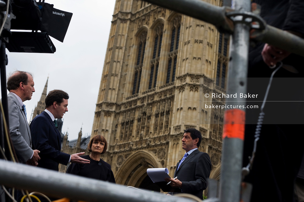 Simon Hughes, George Osborne and Tessa Jowell interviewed by BBC's John Sopel for lunchtime news in Westminster