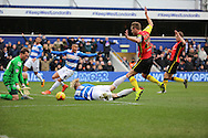 Queens Park Rangers striker, Sebastian Polter (33) winning a penalty after being fouled by Birmingham City defender, Michael Morrison (28) during the Sky Bet Championship match between Queens Park Rangers and Birmingham City at the Loftus Road Stadium, London, England on 27 February 2016. Photo by Matthew Redman.