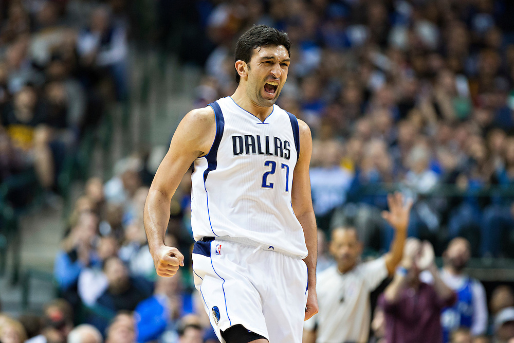 DALLAS, TX - JANUARY 12:  Zaza Pachulia #27 of the Dallas Mavericks celebrates during a game against the Cleveland Cavaliers at American Airlines Center on January 12, 2016 in Dallas, Texas.  NOTE TO USER: User expressly acknowledges and agrees that, by downloading and or using this photograph, User is consenting to the terms and conditions of the Getty Images License Agreement.  The Cavaliers defeated the Mavericks 110-107.  (Photo by Wesley Hitt/Getty Images) *** Local Caption *** Zaza Pachulia