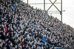 First half main stand fans. Falkirk 3 v 2 Hibernian, Scottish Premiership play-off final, played 13/5/2016 at The Falkirk Stadium.