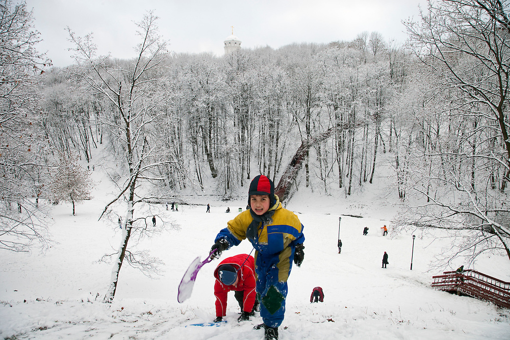 Moscow, Russia, 01/01/2012..Children playing in Kolomenskoe Park on New Year's Day after a heavy overnight snowfall.