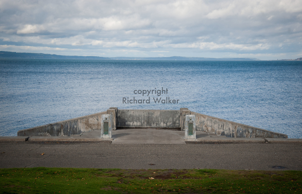 2016 October 18 - View of Puget Sound with concrete access point along the shore at Alki, West Seattle, WA, USA. By Richard Walker