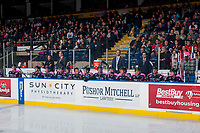 KELOWNA, CANADA - OCTOBER 21: Kelowna Rockets' bench at the start of the game against the Portland Winterhawks  on October 21, 2017 at Prospera Place in Kelowna, British Columbia, Canada.  (Photo by Marissa Baecker/Shoot the Breeze)  *** Local Caption ***