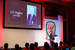 NEWPORT, WALES - Friday, May 20, 2016: Chris Whitley pays tribute to FAW Life Council Member J O Hughes during the Football Association of Wales' National Coaches Conference 2016 at the Celtic Manor Resort. (Pic by David Rawcliffe/Propaganda)