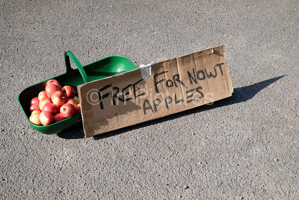 Apples given away for free on the roadside on 3rd October 2016 near Gargrave in the Yorkshire Dales, United Kingdom.