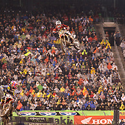 Justin Bogle, (top), Honda, in action while winning the  250SX Class Championship during the Monster Energy AMA Supercross series held at MetLife Stadium. 62,217 fans attended the event held for the first time at MetLife Stadium, New Jersey, USA. 26th April 2014. Photo Tim Clayton