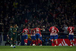 November 28, 2018 - Madrid, Spain - Antoine Griezmann of Atletico Madrid celebrates goal with teammates during the UEFA Champions League match between Atletico Madrid and AS Monaco at Wanda Metropolitano Stadium in Madrid, Spain on November 28, 2018  (Credit Image: © Jose Breton/NurPhoto via ZUMA Press)