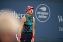August 15, 2018 - Anett Kontaveit of Estonia in action during her second-round match at the 2018 Western & Southern Open WTA Premier 5 tennis tournament. Cincinnati, Ohio, USA. August 15th 2018. (Credit Image: © AFP7 via ZUMA Wire)