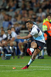 Kurtley Beale kicking for goal. Investec Super Rugby - Blues v Waratahs, Eden Park, Auckland, New Zealand. Saturday 16 April 2011. Photo: Clay Cross / photosport.co.nz