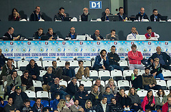 Journalists at press seats during football match between National teams of San Marino and Slovenia in Group E of EURO 2016 Qualifications, on October 12, 2015 in Stadio Olimpico Serravalle, Republic of San Marino. Photo by Vid Ponikvar / Sportida