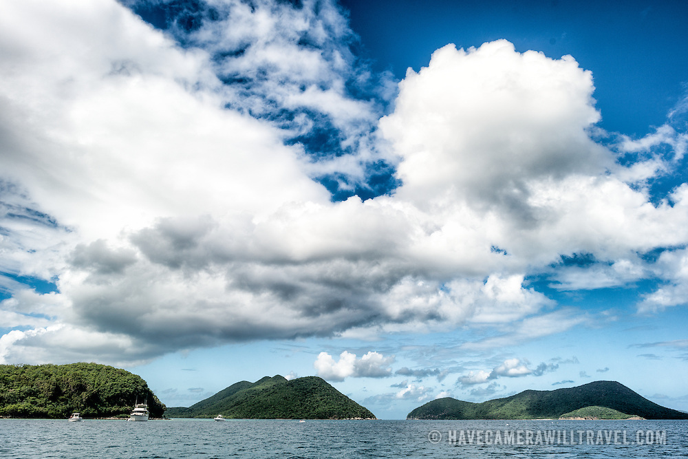 Tropical clouds build over the mountains at Waterlemon Cay on St John in the US Virgin Islands.
