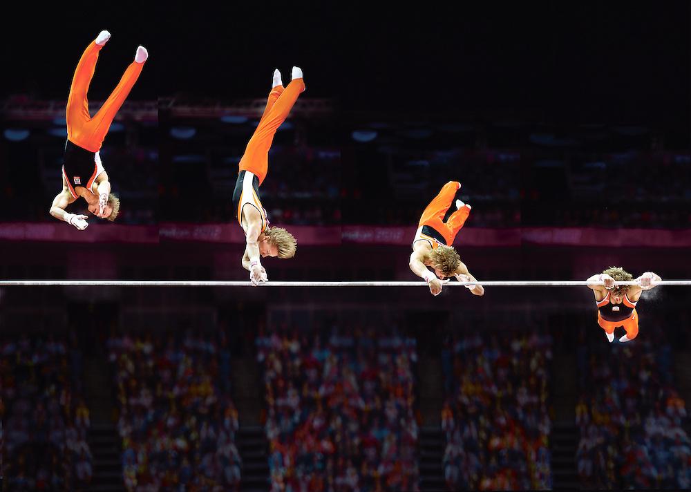 Engeland, Londen, 07-08-2012.<br /> Olympische Spelen, Turnen.<br /> Epke Zonderland met de Cassina.<br /> Foto : Klaas Jan van der Weij