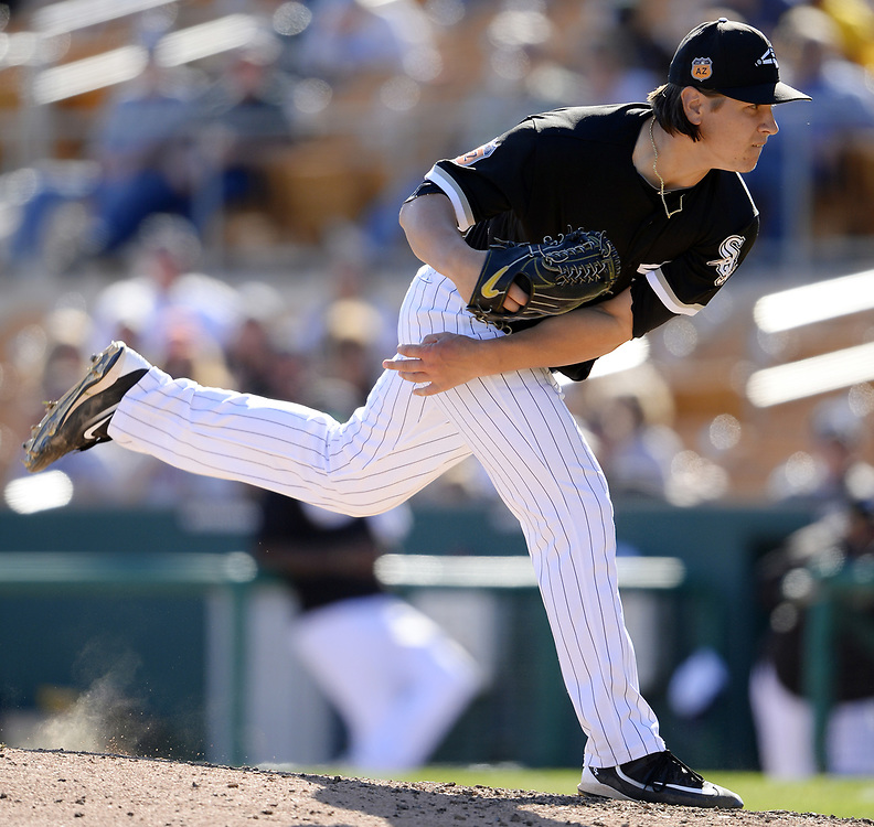 GLENDALE, ARIZONA - MARCH 06:  Jace Fry #80 of the Chicago White Sox pitches during a spring training game against the San Diego Padres on March 6, 2017 at Camelback Ranch in Glendale Arizona.  (Photo by Ron Vesely)   Subject:   Jace Fry