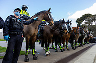 MELBOURNE, VIC - SEPTEMBER 05: Mounted Police stand fast during the Anti-Lockdown Protest on September 05, 2020 in Sydney, Australia. Stage 4 restrictions are in place from 6pm on Sunday 2 August for metropolitan Melbourne. This includes a curfew from 8pm to 5am every evening. During this time people are only allowed to leave their house for work, and essential health, care or safety reasons. (Photo by Dave Hewison/Speed Media)
