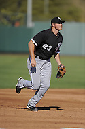 TEMPE, AZ - MARCH 4:  Mark Teahen #23 of the Chicago White Sox fields against the Los Angeles Angels on March 4, 2010 at Tempe Diablo Stadium in Tempe, Arizona. (Photo by Ron Vesely)