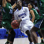 Loysha Morris, Memphis, drives to the basket during the Tulane Green Wave Vs Memphis Tigers Quarter Final match at the  2016 American Athletic Conference Championships. Mohegan Sun Arena, Uncasville, Connecticut, USA. 5th March 2016. Photo Tim Clayton