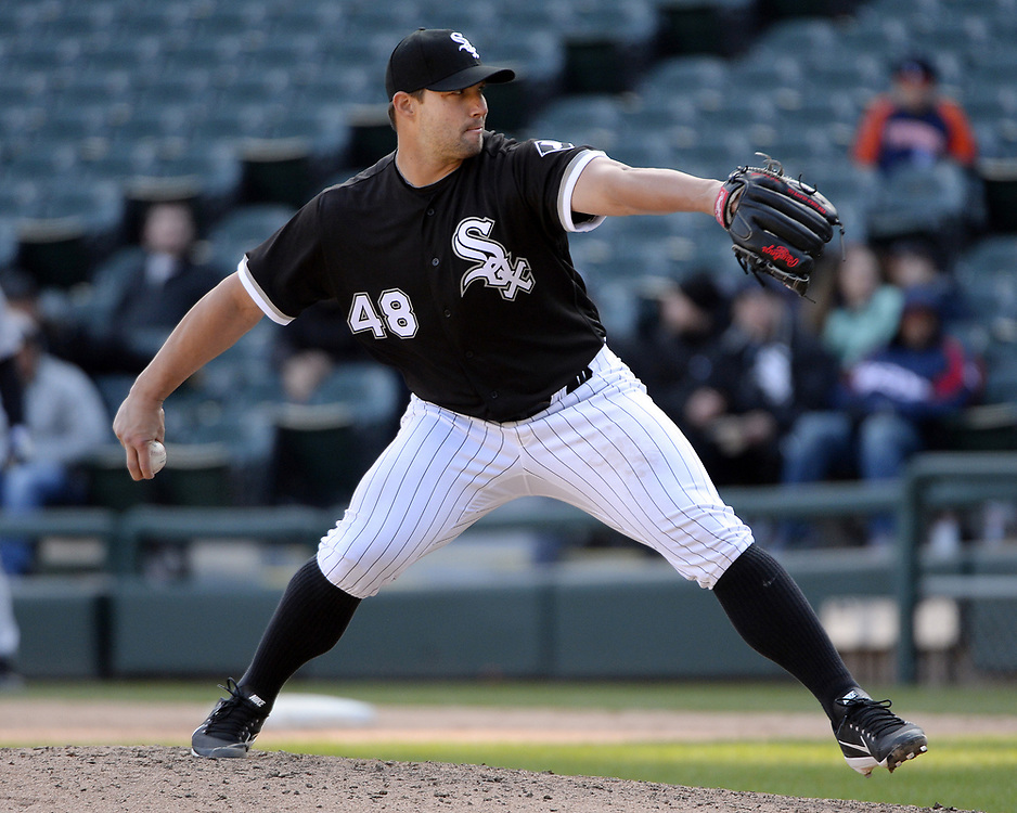 CHICAGO - APRIL 06:  Tommy Kahnle #48 of the Chicago White Sox pitches against the Detroit Tigers on April 6, 2017 at Guaranteed Rate Field in Chicago, Illinois.  The White Sox defeated the Tigers 11-2.  (Photo by Ron Vesely)   Subject:  Tommy Kahnle