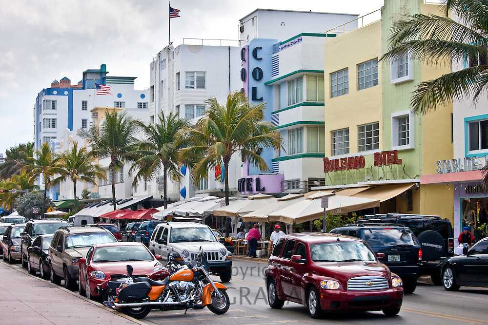 Miami Art Deco, Starlight, Boulevard and Colony Hotels in Ocean Drive at Miami South Beach, Florida USA