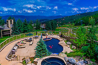Swimming pool, Timberline Condominiums, Snowmass Village (Aspen), Colorado USA.