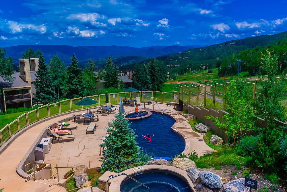 Swimming pool, Timberline Condominiums, Snowmass Village (Aspen), Colorado USA.