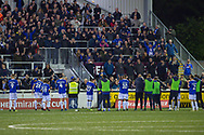 Oldham Athletic applaud the fans after the The FA Cup match between Maidstone United and Oldham Athletic at the Gallagher Stadium, Maidstone, United Kingdom on 1 December 2018. Photo by Martin Cole