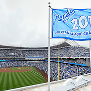 The 2014 American League Champions pennant was raised on Opening Day, April 6, 2015, at Kauffman Stadium in Kansas City, Mo.