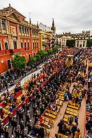 A paso (float) of the Virgin Mary in the procession of the Brotherhood (Hermandad) San Bernardo, Holy Week (Semana Santa), Seville, Andalusia, Spain.