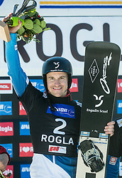 Winner Nevin Galmarini (SUI) celebrates at trophy ceremony after Final Run at Men's Parallel Giant Slalom at FIS Snowboard World Cup Rogla 2017, on January 28, 2017 at Course Jasa, Rogla, Slovenia. Photo by Vid Ponikvar / Sportida
