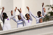 Young members of the praise dance group of the Mother Emanuel African Methodist Episcopal Church during a ceremony marking the 2nd anniversary of the mass shooting June 17, 2017 in Charleston, South Carolina. Nine members of the historic African-American church were gunned down by a white supremacist during bible study on June 17, 2015.