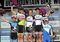 Sykkel / terrengsykkel / Mountain Bike<br /> 01.06.2014<br /> UCI World Cup<br /> Foto: imago/Digitalsport<br /> NORWAY ONLY<br /> <br /> Gunn-Rita Dahle Flesjå Norwegen <br /> von links nach rechts Tanja Zakeli Slowenien Gunn-Rita Dahle Flesjaa Norwegen Pauline Ferrand Prevot Frankreich Jolanda Neff Schweiz Catharine Pendrel Kanada