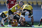 Hurricanes Luke Campbell passes in the Super Rugby match, Hurricanes v Crusaders, Sky Stadium, Wellington, Sunday, April 11, 2021. Copyright photo: Kerry Marshall / www.photosport.nz