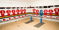 NEWPORT, WALES - Tuesday, October 16, 2018: The shirts of Owen Evans, Aaron Lewis, Rhys Norrington Davies, Cian Harries, Regan Poole, Joseff Morrell and Thomas Harris, Nathan Broadhead, Liam Cullen, Luke Pilling, Keston Davies,Alex Babos and Isaac Christie Davies hang in the dressing room ahead of the UEFA Under-21 Championship Italy 2019 Qualifying Group B match between Wales and Switzerland at Rodney Parade. (Pic by Laura Malkin/Propaganda)