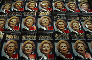 Copies of former British Prime Minister, Margaret Thatcher's memoirs, ready for sale in a Costco warehouse around June 1993 in London England. The Downing Street Years covered Thatcher's premiership from 1979 to 1990 before she was deposed after a leadership challenge. The book was accompanied by a four-part BBC television series of the same name.