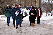 "02 JANUARY 2021 - DES MOINES, IOWA: About 30 people marched around the Iowa State Capitol Saturday afternoon to protest the outcome of the November 3 general election in the United States. They are a part of the ""Stop the Steal"" movement which maintains that the election was stolen from Donald Trump by massive voter fraud. There is no evidence supporting their conspiracy theory. This is the 9th week Donald Trump supporters have marched around the Capitol. They've been there every week since the Nov. 3 election. More than 1,000 people showed up the first week, but the crowd has gotten smaller every week.       PHOTO BY JACK KURTZ"