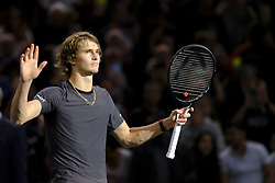 November 1, 2018 - Paris, France - German player ALEXANDER ZVEREV winner of Argentine player D. SCHWARTZMAN during the tournament Rolex Paris Master at Paris AccorHotel Arena Stadium in Paris France. Alexander Zverev won 6-4 6-2 (Credit Image: © Pierre Stevenin/ZUMA Wire)