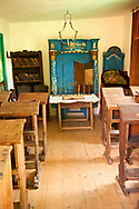 18th Century Jewish School room in the Casa Evreiasca. Barsana, the Village museum near Sighlet, Maramures, Northern Transylvania .<br /> <br /> Visit our ROMANIA HISTORIC PLACXES PHOTO COLLECTIONS for more photos to download or buy as wall art prints https://funkystock.photoshelter.com/gallery-collection/Pictures-Images-of-Romania-Photos-of-Romanian-Historic-Landmark-Sites/C00001TITiQwAdS8