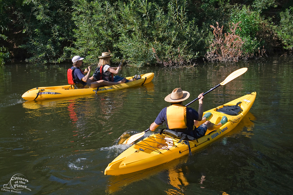 """Day 1 of the Los Angeles River Expedition 2008. Organized by LA river kayaker and LaLa Times publisher George Wolfe, boaters embarked on a 52-mile exploration of the full river, from its source (Canoga Park) to its estuary (Long Beach). Deemed not to be a """"traditional navigable water"""" by the Army Corps of Engineers — and therefore not worthy of clean water standards, the Expedition's purpose is to prove it is navigable. Sepulveda Basin, Los Angeles County, California, USA."""
